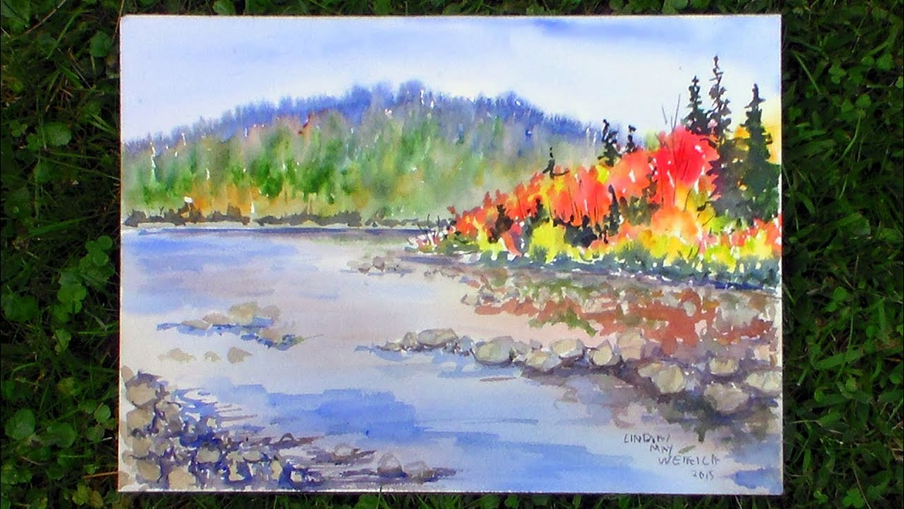 Autumn in maine landscape watercolor real time tutorial for What time is it in maine right now