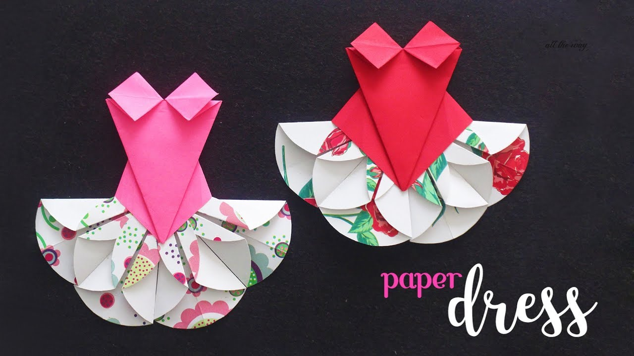 Diy Paper Dress Paper Craft Ideas Kids Crafts Youtube
