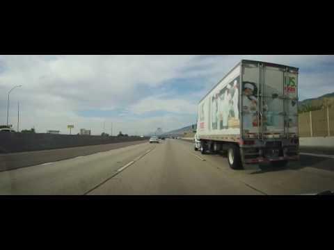 Driving on Interstate 15 fom Salt Lake City to Brigham City, Utah