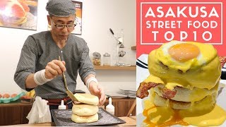 Tokyo Street Food Asakusa Top 10 Hidden Backstreet Tour | Fluffiest Japanese Pancakes Ever!