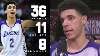 Lonzo Ball Wears Kobes! Drops 36 Pts 11 Asts 8 Rebs! NBA Summer League 2017