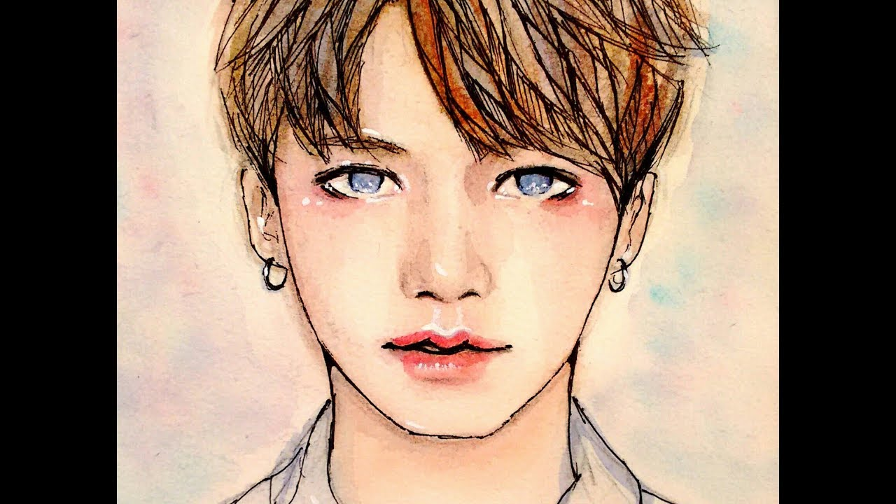 Jungkook Bts Drawings: Tutorial - YouTube
