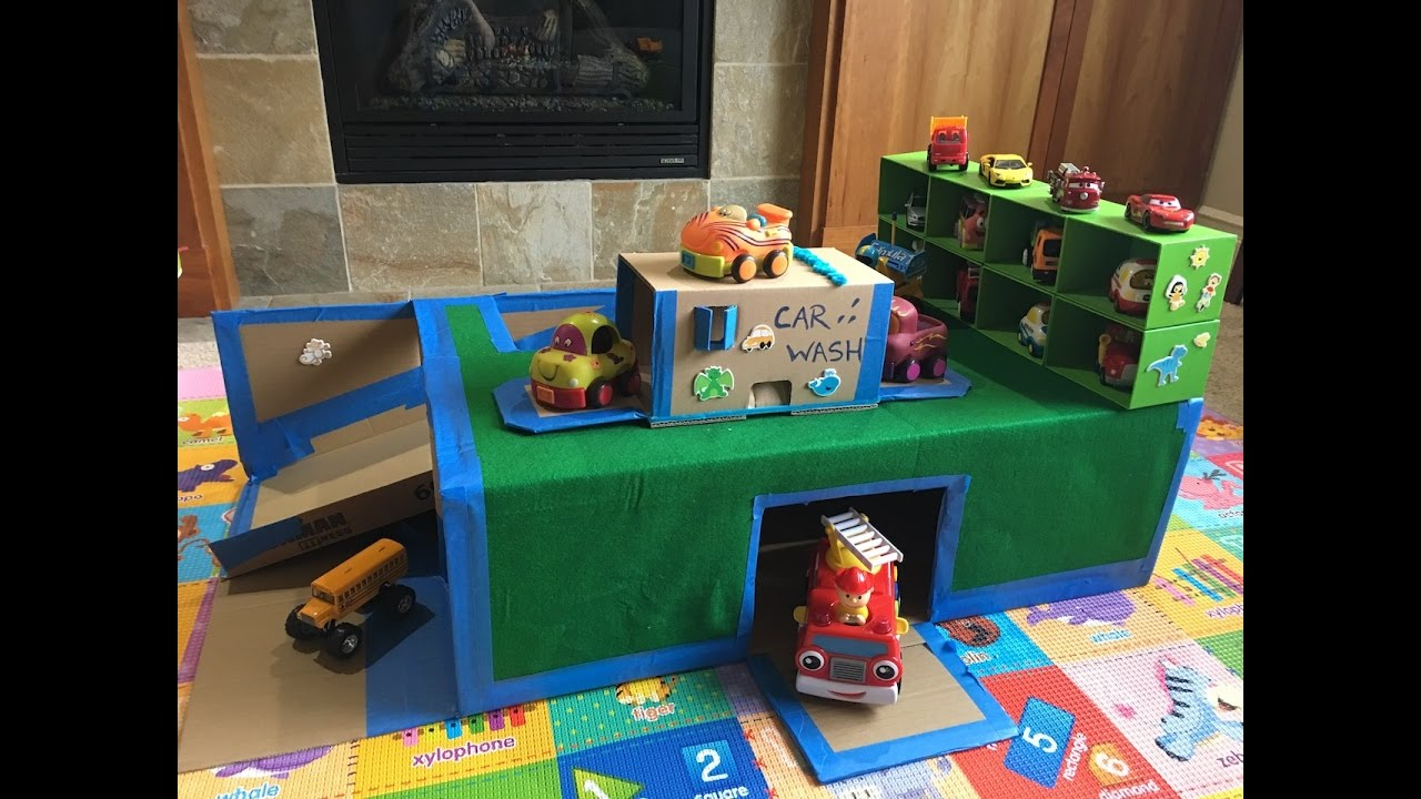Cardboard garage and car wash for kids diy craft for How to make a small garage