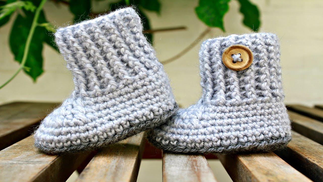 Baby Booties For Newborns ᴴᴰ ·▭· · ··· Simple Crochet Baby ...