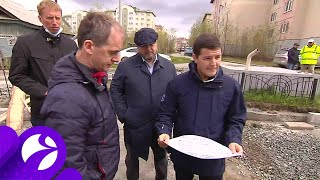 Дмитрий Артюхов проинспектировал ход работ по ремонту дорог и стройки Салехарда