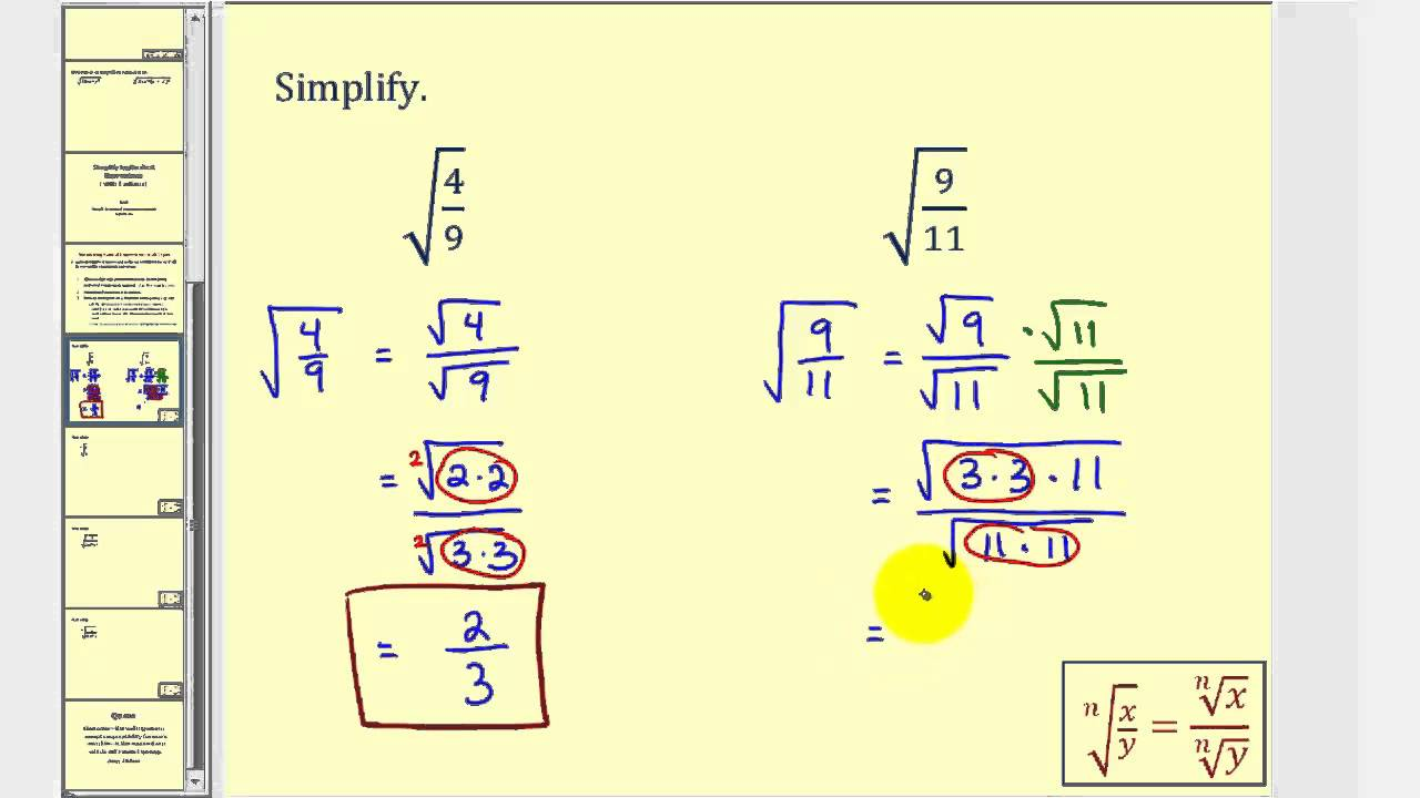Simplifying radical expressions with fractions youtube ccuart Gallery