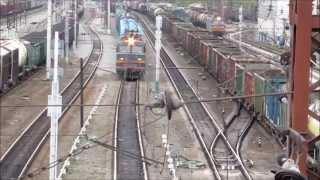 Train traffic of Voskresensk station, Moscow region, Russia.