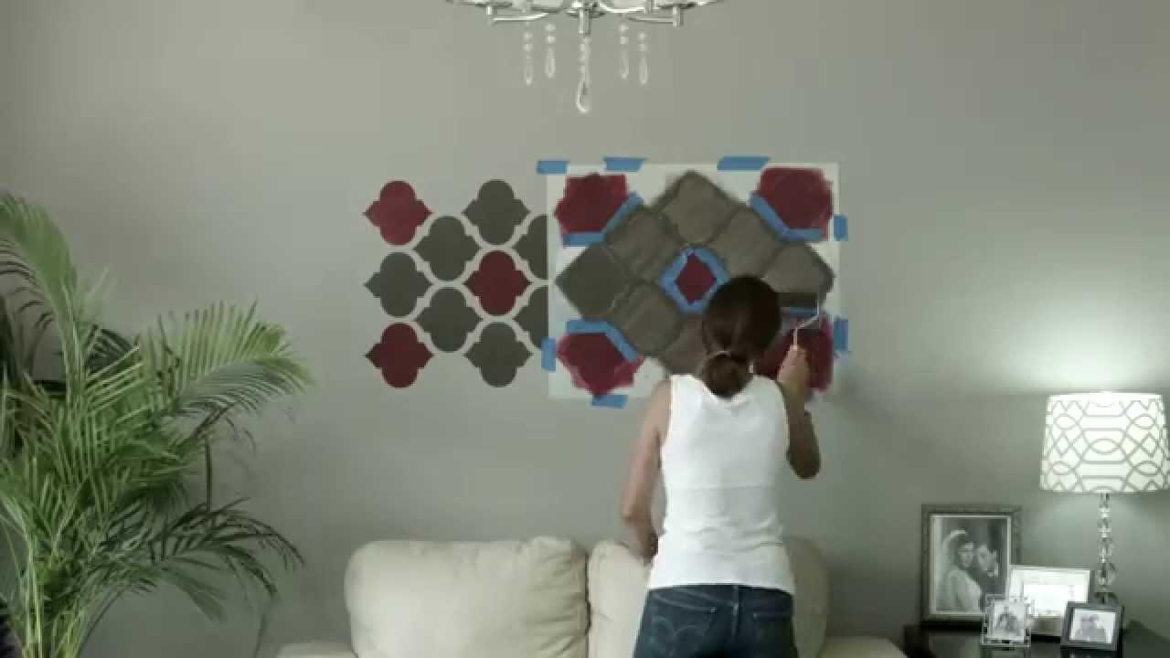 Como crear un detalle decorativo con plantillas youtube - Plantillas decorativas pared ...