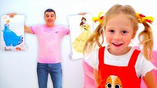 Nastya sơn phết căn phòng mới theo cách công chúa Disney