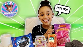 ASMR First Time Trying Cinnamon Hearts, Gummy Candy, & Cookies | Cali's Playhouse