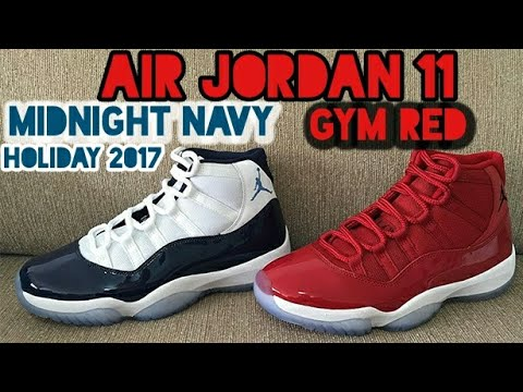 56c2e729f245a AIR JORDAN 11 MIDNIGHT NAVY GYM RED FIRST LOOK - YouTube