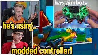 Streamers *SHOCKED* UNKNOWN Pro Player using *AIMBOT* CONTROLLER In Fortnite Tournament...
