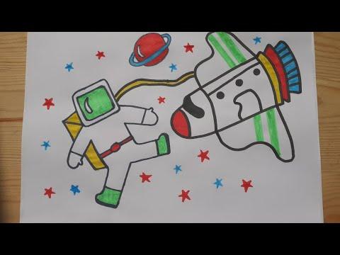 الرسم والتلوين للأطفال كيفية رسم رائد فضاء رسم صاروخ ورجل الفضاء Draw A Rocket For Children Youtube