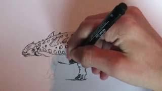 How to Draw Ankylosaurus, -Easy