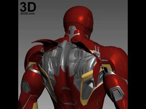 Iron man mk 45 mark XLV back under flap suit armor details 3d printable  print file stl cosplay
