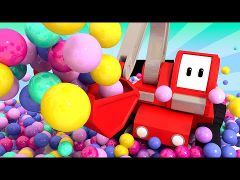 Fun Ball Pool - Tiny Trucks for Kids with Street Vehicles Bulldozer, Excavator & Crane