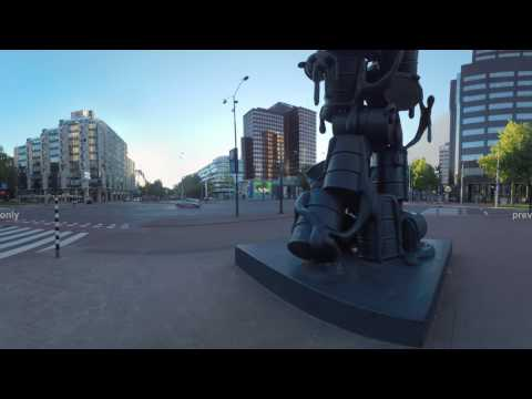 360 VR Cityscape of Rotterdam with office buildings, street statue and Maritime Museum