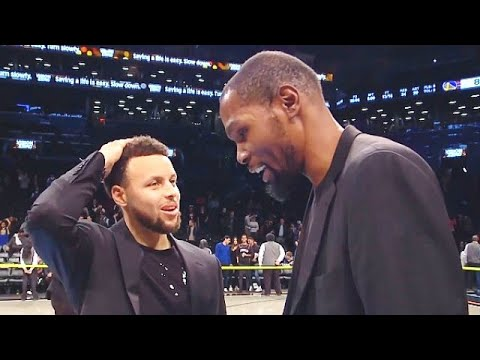 Watch: Kevin Durant and Steph Curry reunite after Warriors vs. Nets