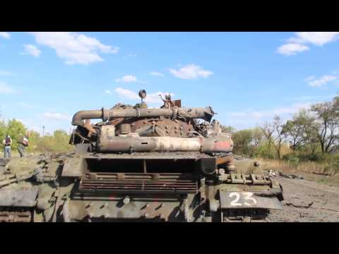 ⚡ War in Donbass 2014: Destroyed tank by village of Khryaschivate, by Lugansk