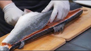 wOw! 연어회뜨기와 연어회, 연어 스테이크 / Fillet a Whole Salmon/Salmon sashimi /Salmon steak /Korean food