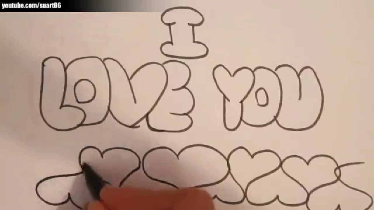 how to draw i love you in bubble letters youtube