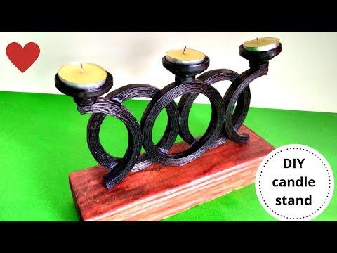 How to make artistic newspaper candle stand || Newspaper craft || Iris Craft Corner 34
