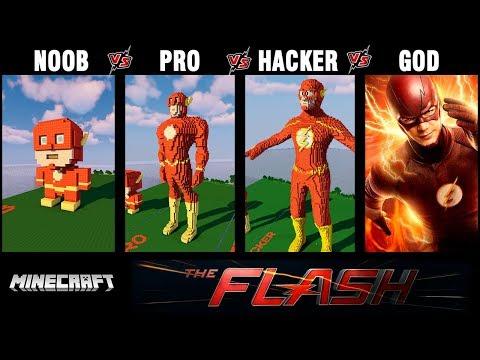 Minecraft Battle: NOOB vs PRO vs HACKER vs GOD: SUPERHERO FLASH Build challenge in Minecraft 13+
