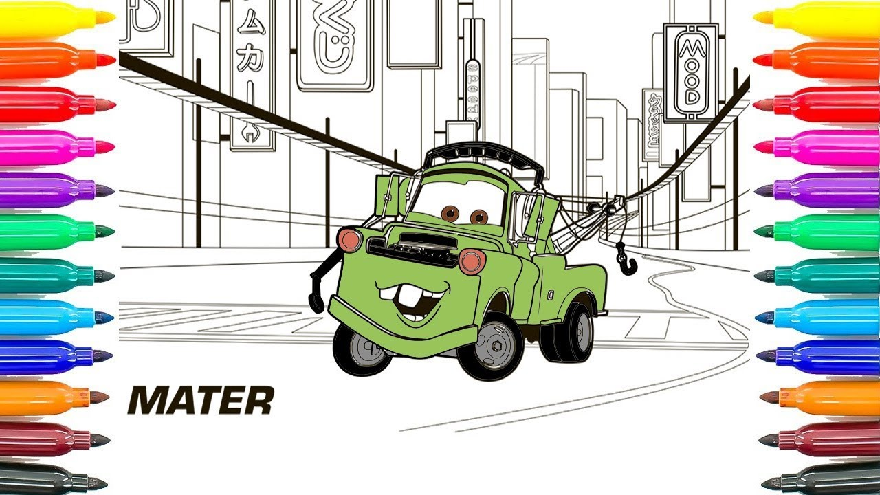 How To Draw Cars 3 Tow Mater Coloring Pages How To Paint Cars 3 Tow ...