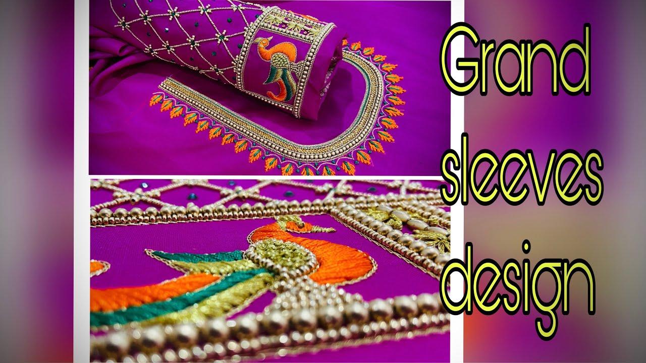 Grand sleeve design for wedding | peacock design | Aari work blouse designs