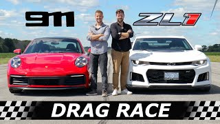 2020 911 Porsche Carrera S vs Camaro ZL1 // DRAG & ROLL RACE