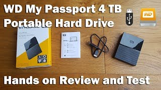 wD My Passport 4TB External Hard Drive Unboxing & Speed Test