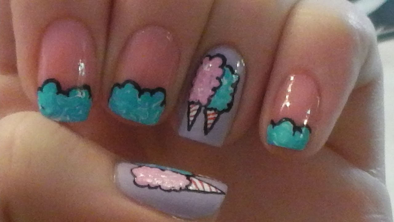 Cotton Candy Nail Art Tutorial - Cotton Candy Nail Art Tutorial - YouTube