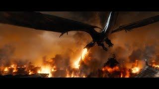 Дракон поджигает Озёрный город. HD