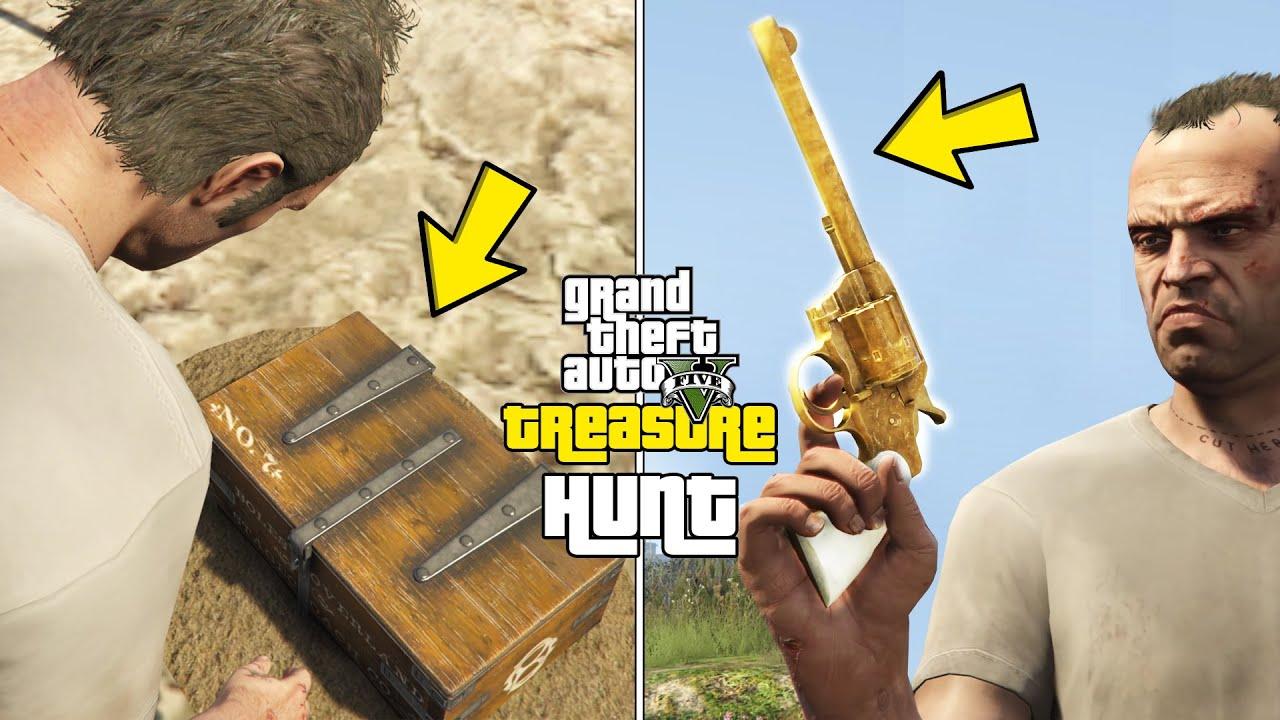 GTA 5 - Treasure Hunt in Singleplayer! (Secret Golden Revolver Location)