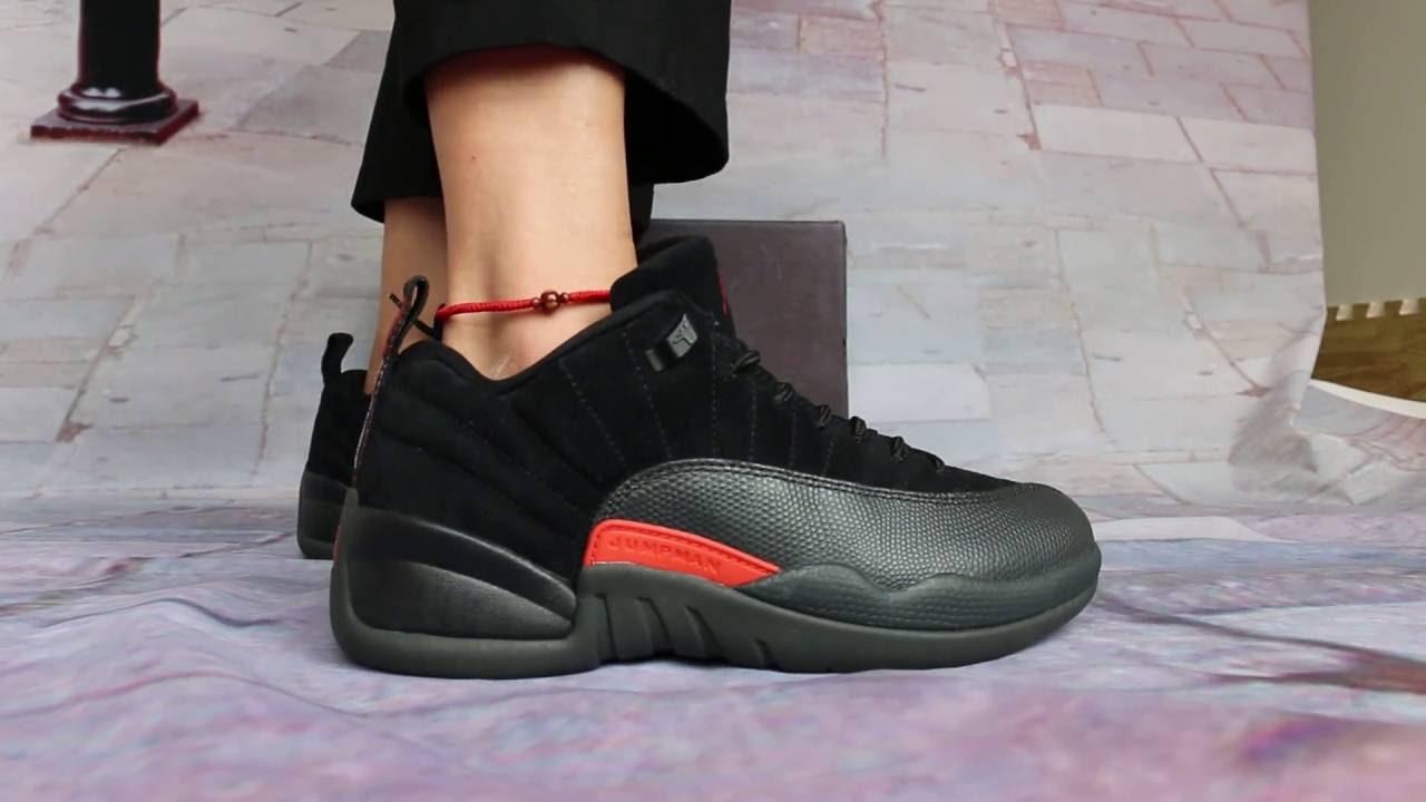 info for ef50f 43756 Detail Show of Air Jordan 12 Low Black Olive On Foot