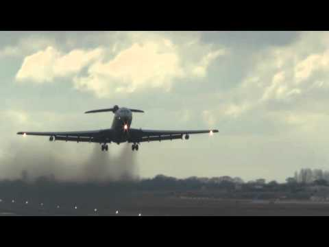 RAF VC10 does a touch and go at Birmingham Airport.