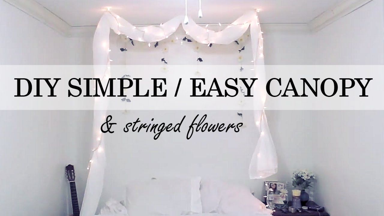 Bed Canopy No Nails : Diy simple no nail canopy stringed flowers wall decor