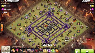 Never miss a star on Th9 4 corner internet base - clash of clans clan war 3 star attack with 1 hero