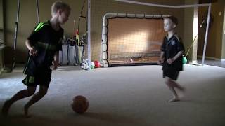 Update 8-9 yr old football/soccer kid with Messi/Ronaldo/Neymar skills training to be attacking MF