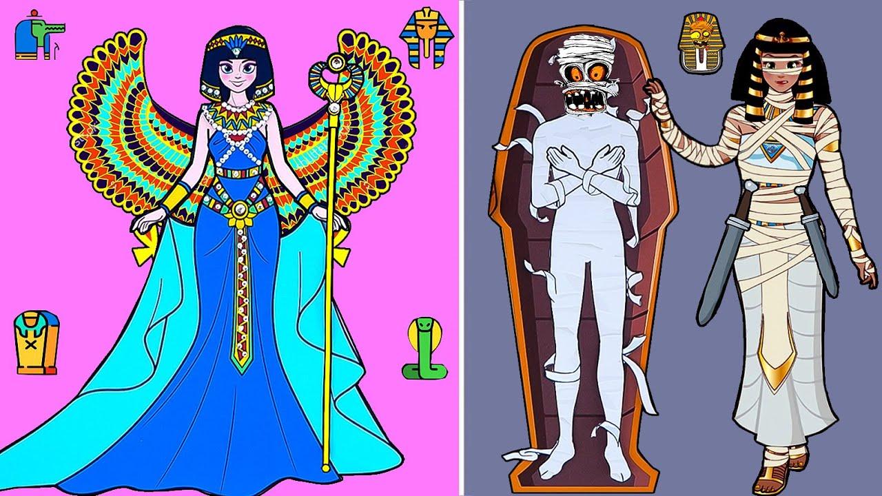Paper Dolls Dress Up - Costume Egyptian Queen Frozen Elsa Dress Handmade - Barbie Story & Crafts