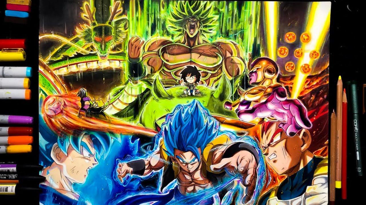 drawing dragon ball super movie poster gogeta goku vegeta and broly
