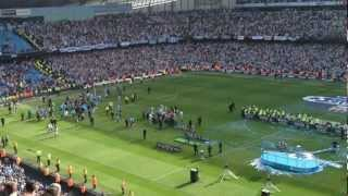 Manchester city v QPR - fans singing wonderwall after city win the league!