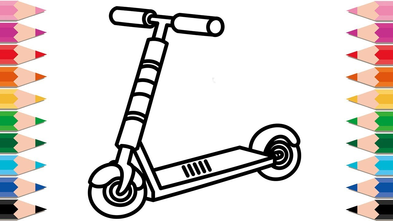 It's just a photo of Shocking Scooter Coloring Pages