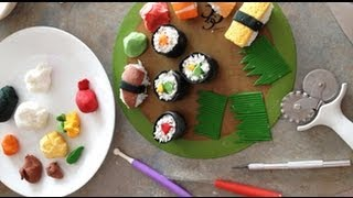 How to make a fondant SUSHI CAKE! Time-lapse video