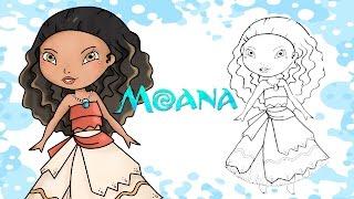 How to draw Moana / Vaiana - Disney Princess HD