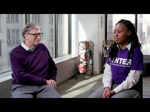 Bill Gates in conversation with Hunter student and Rhodes Scholar Thamara Jean