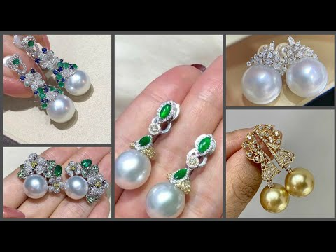 Fascinating fabulous adorable pearl and diamond stud earring and long earring design's