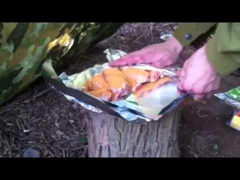 Campfire cooking spicy chicken legs