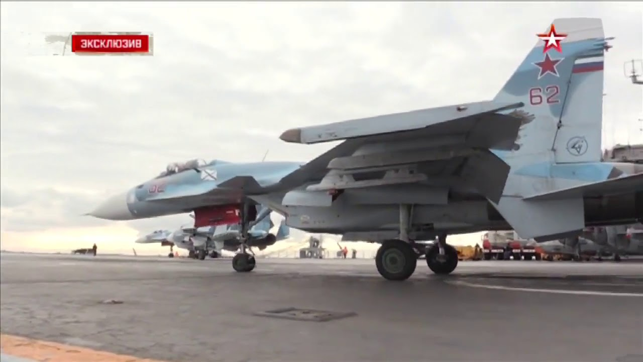 Russian aircraft carrier Admiral Kuznetsov Arrested Landing