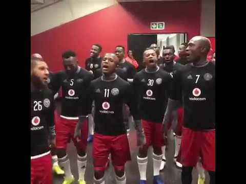 Orlando Pirates players singing in dressing room